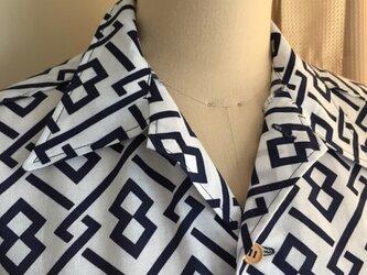 浴衣シャツ(メンズ向け・Lサイズ)幾何学模様の画像