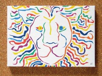 絵画 イラスト アート パネル ライオン 獅子 LION 白 SM-01の画像