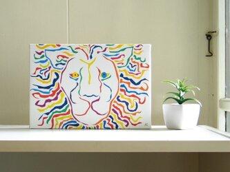 絵画 イラスト アート パネル ライオン 獅子 LION 白 SM-02の画像