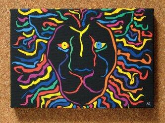 絵画 イラスト アート パネル ライオン 獅子 LION 黒 SM-01の画像