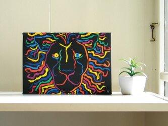 絵画 イラスト アート パネル ライオン 獅子 LION 黒 SM-02の画像