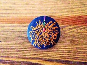 刺繍ボタンブローチ 「線香花火」の画像