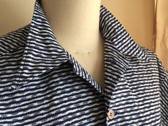 浴衣シャツ(メンズ向け・Lサイズ)縞しまの画像