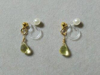 宝石質レモンクォーツドロップイヤリングの画像
