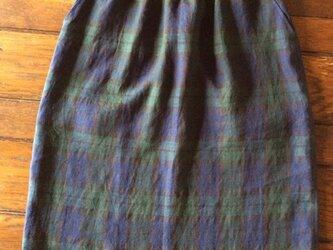 受注製作~フレンチリネン・ブラックウォッチのセミタイトスカートの画像