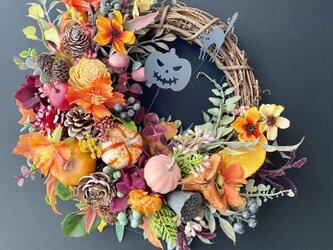 Halloween pumpkinman wreathの画像