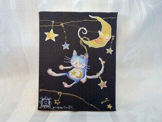 猫のエミリー☆月のリフト(アートキャンバスパネル)の画像