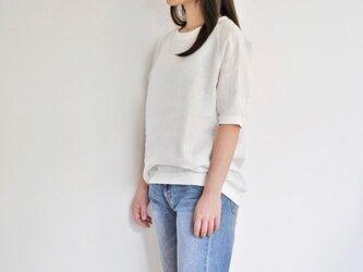 リブ付リネンラグランスリーブTシャツ<ホワイト>の画像
