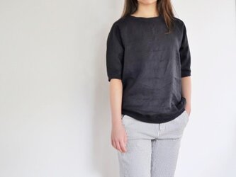 リブ付リネンラグランスリーブTシャツ<ネイビー>の画像