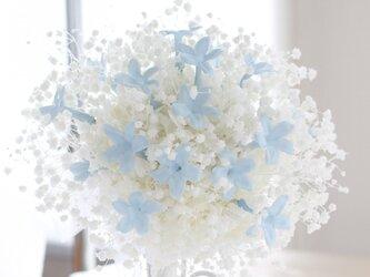 かすみ草とサムシングブルーのジャスミン プリザーブドフラワー ウェディングブーケ ブートニア付きの画像