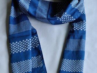 藍染×型染ストール(太ボーダー)の画像