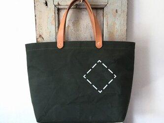 お好みの文字数字を鞄にステンシル。パラフィン帆布オリーブシンプルトートS INDBNP_0407の画像
