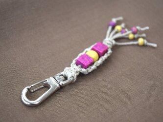 ヘンプのキーホルダー(黄×紫)の画像