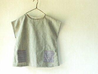 手織り綿霜降りと上海木綿のブラウスの画像