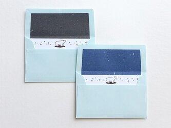 黒銀箔のシロクマメッセージカードの画像