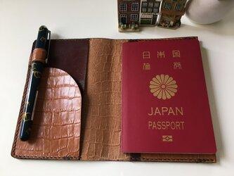【受注制作】パスポートケース☆キャメル×焦茶♬の画像