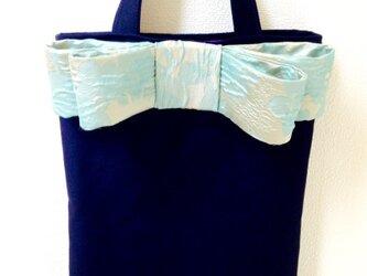大人のリボンバッグ   紺×ブルーリボンの画像