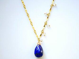 大粒ラピスラズリとハーキマーダイヤモンドのネックレス ~Theresaの画像