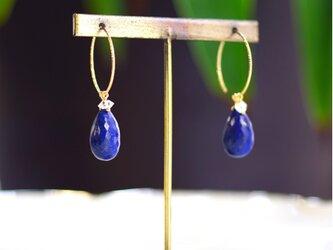 再販】K10大粒ラピスラズリとハーキマーダイヤモンドのピアス ~Stellaの画像