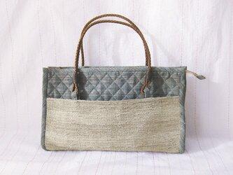 ☆セール第二弾☆ 紬と裂き織りのこぶりバッグ(スモーキーグリーン)の画像