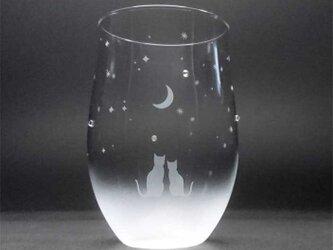 【一緒にみる三日月の夜空】猫モチーフのタンブラーグラス(vol.1)の画像