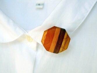 木のブローチ-Octagon(八角形、ハイブリッド縞)の画像