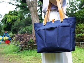 革の持ち手の6号帆布のスクエアトートバッグ~ネイビー(倉敷帆布)~の画像