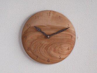 掛け時計 丸 カバ材2の画像