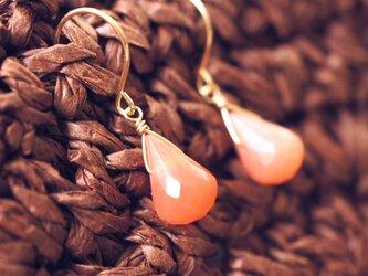 K18オレンジムーンストーンのドロップピアス ~Elaineの画像