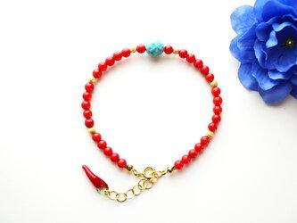 ターコイズ&珊瑚 ブレスレット Turquoise&Coral brecelet B0054の画像