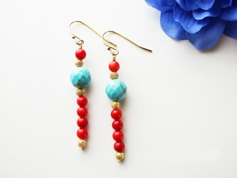 ターコイズ&珊瑚(コーラル) Turquoise&Coral earrings P0027の画像