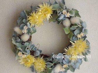 デージーと紫陽花のリース blの画像