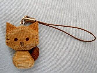 木猫(こねこ)のストラップ ウォールナットタイプの画像