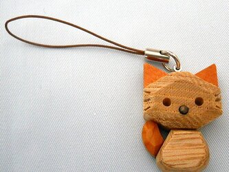 木猫(こねこ)のストラップ イチイ材タイプの画像