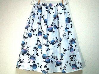 浴衣地 菊模様 ギャザーゴムスカート MLサイズの画像