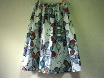 浴衣地 烏瓜模様 ギャザーゴムスカート MLサイズの画像