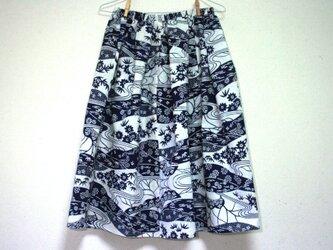 浴衣地 里山模様 ギャザーゴムスカート MLサイズの画像