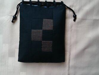♪着物生地の信玄袋(男性用)紺、グレー48の画像