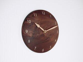 木製 掛け時計 丸 ブラックウォールナット材16の画像