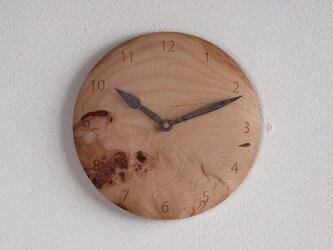 掛け時計 丸 カバ材4の画像