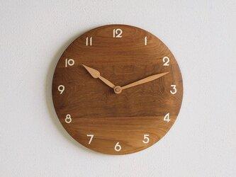 掛け時計 丸 チーク材14の画像