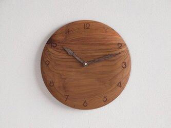 掛け時計 丸 チーク材17の画像