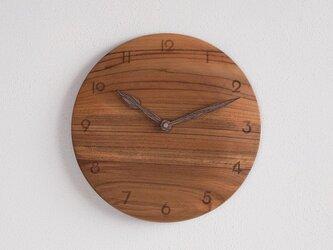 掛け時計 丸 チーク材18の画像