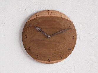 掛け時計 丸 チーク材19の画像