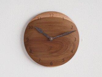 掛け時計 丸 チーク材20の画像