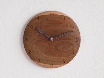 掛け時計 丸 チーク材21の画像