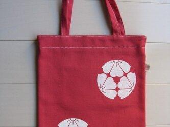 家紋シリーズ 縦長バッグ 「三つ割り桜」の画像