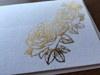 大人エレガントなグリーティングカードのセット(ローズA 2枚組)の画像