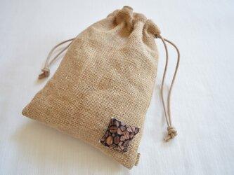 コーヒー袋に cofee・巾着袋の画像