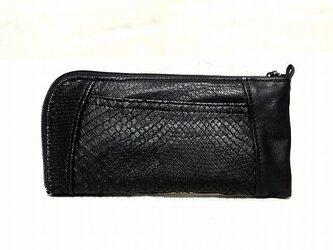 ハーフラウンド型 長財布(黒蛇革ツヤあり)の画像